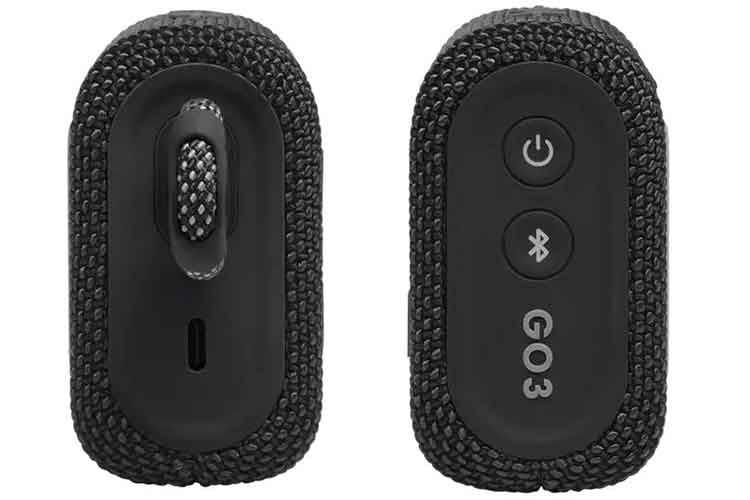 Eine USB-C Schnittstelle sorgt für zügiges Laden (li.), Zwischen dem Ein-/Aus- und Bluetooth-Knopf befindet sich eine kleine LED (re.)