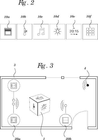 Abbildung der Einstellungsmöglichkeiten der würfelähnlichen Smart Home Fernbedienung von Google