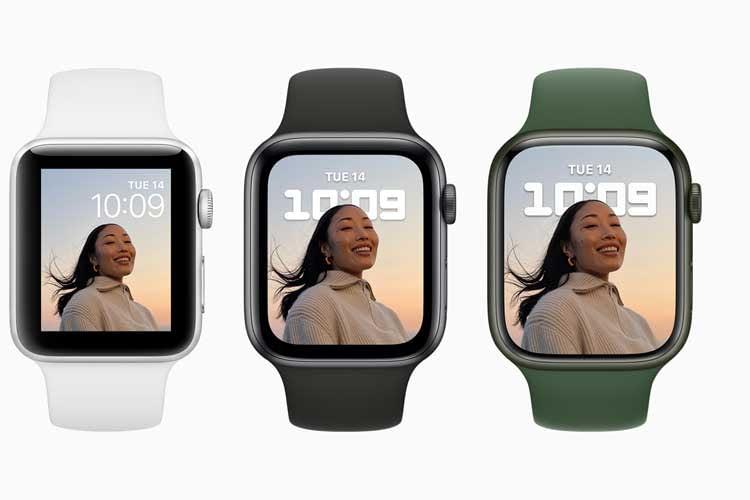 Die Displays der Apple Watch 3, 6 und 7 im Vergleich (von links nach rechts)