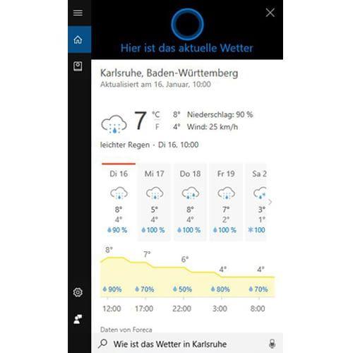 Windows-Wetter-App mit Cortana per Sprachbefehl auf den Desktop berufen