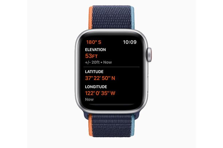 Der in Apple Watch SE integrierte Höhenmesser ist bis auf 30 cm genau