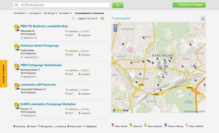 Das Stromtankstellen Verzeichnis von smarttanken.de ist ohne Registierung nutzbar